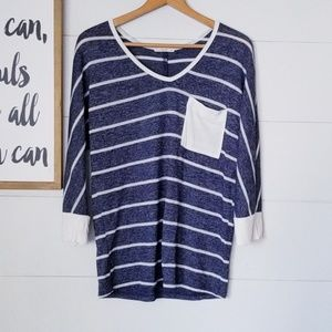 Le Lis Striped Flowy Top w/ front pocket
